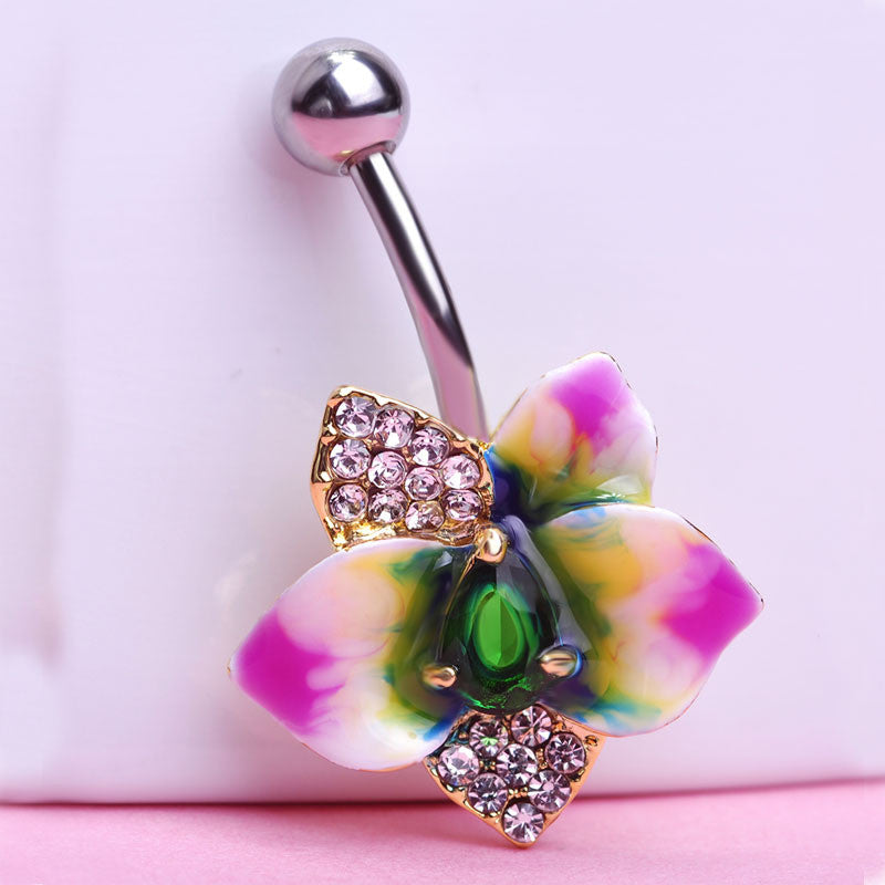 Flower Belly Button Ring Piercing