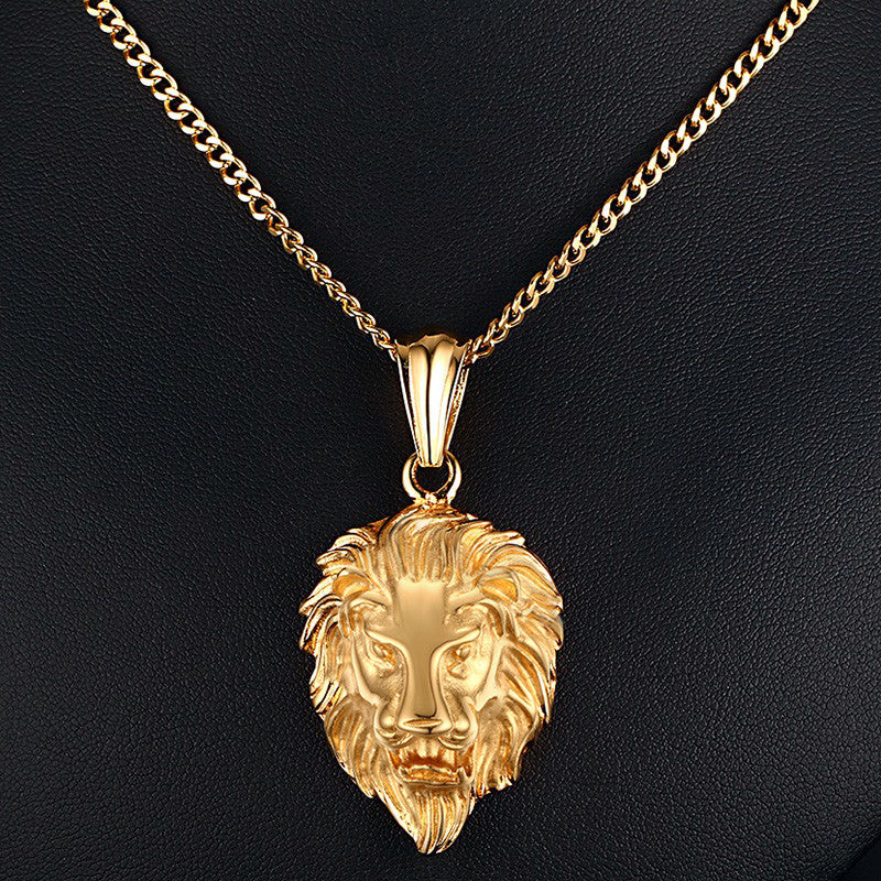 Lion Head Pendant Necklace (18K Gold Plated)