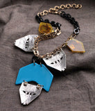 Elegant Blue Resin Triangle Necklace