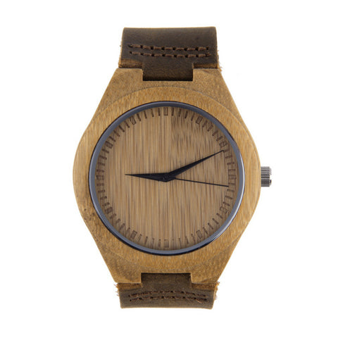 Bamboo Wood Watch Leather Quartz