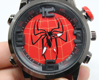 Fashion Casual Student Quartz Watch PU Leather Strap Spider-Man Round Wristwatch