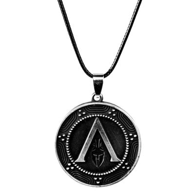 ACT Game Assassins Creed Odyssey Keychain Spear of Leonidas Alloy Keyring Metal Pendant Necklace Men Women Jewelry Souvenir Gift