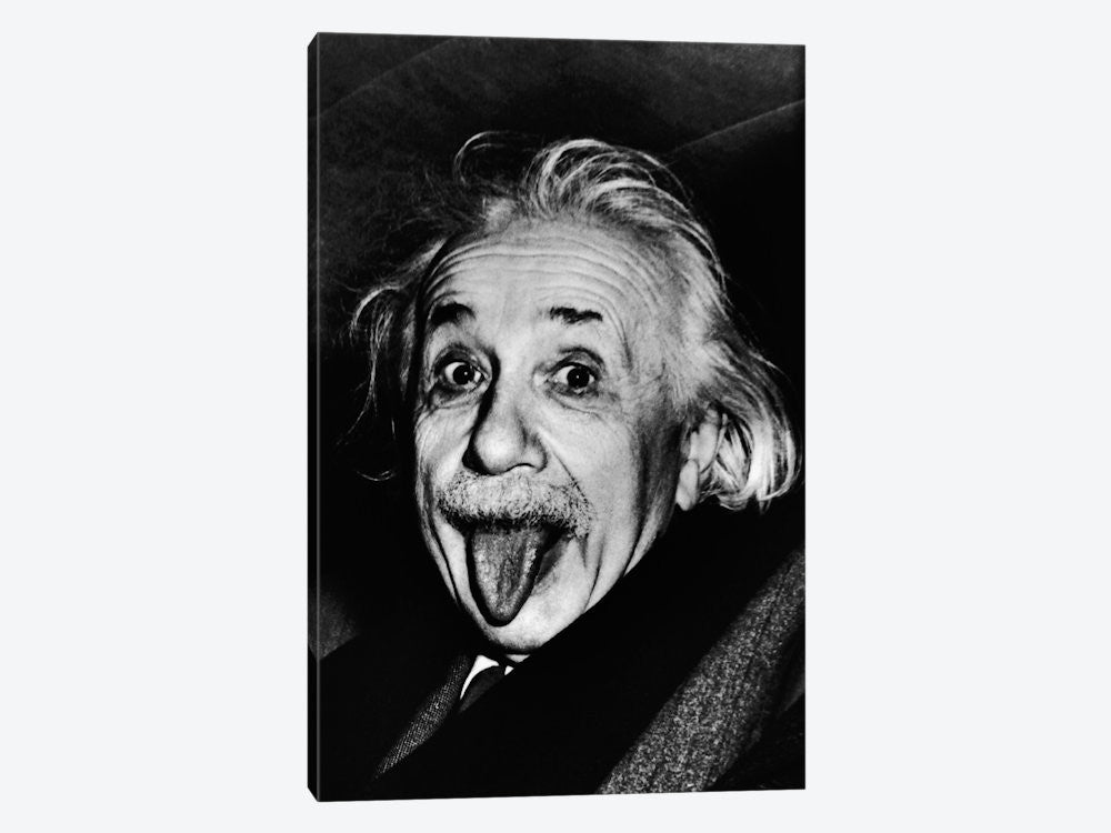 "Albert Einstein Sticking His Tongue Out by Arthur Sasse Canvas Print 18"" L x 26"" H x 0.75"" D - eWallArt"