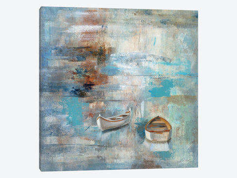"Teal and Aqua Reflections #2 by Silvia Vassileva Canvas Print 26"" L x 18"" H x 0.75"" D"