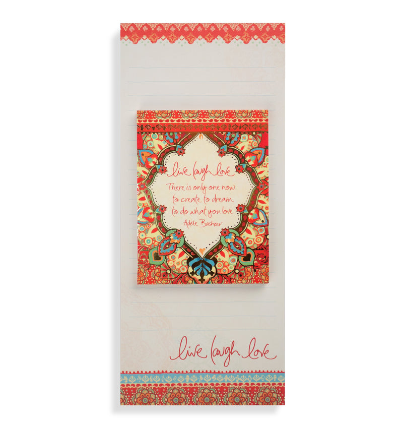 Intrinsic-Live Laugh Love Red Magnetic List Pad Set