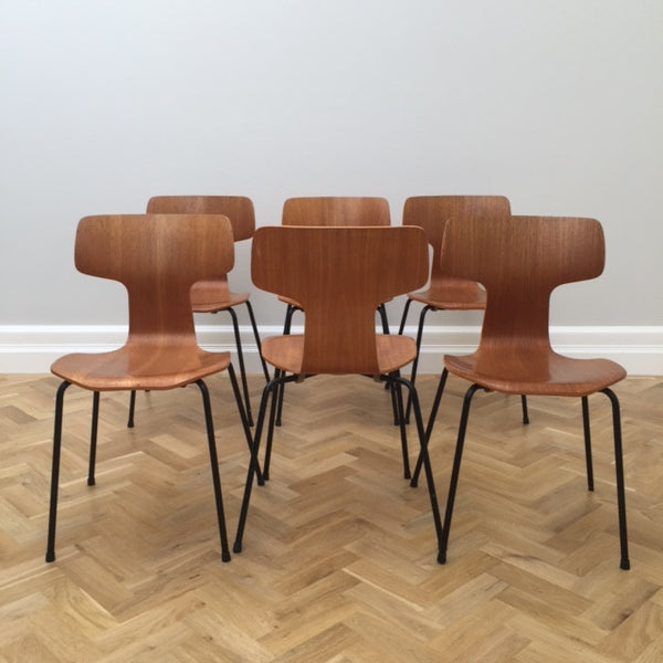 Set of Six Arne Jacobsen Model 3103 Dining Chairs for Fritz Hansen