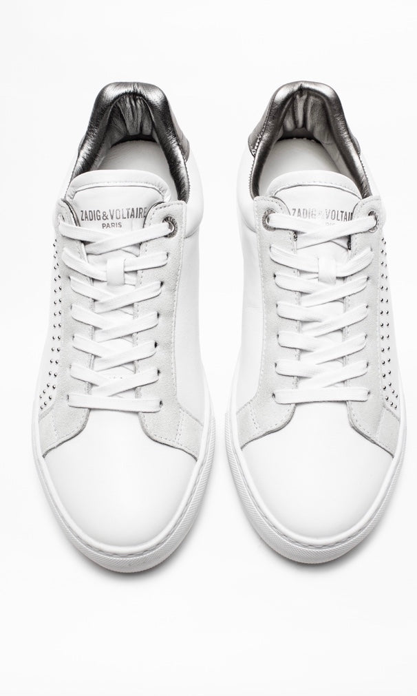Zadig White Stud Sneakers