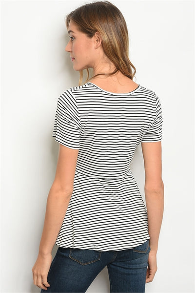 It's a Cinch Top - Black Stripes