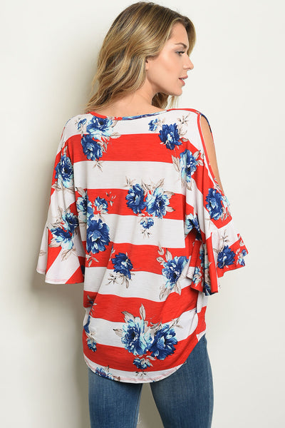 Red White Blue Floral Top