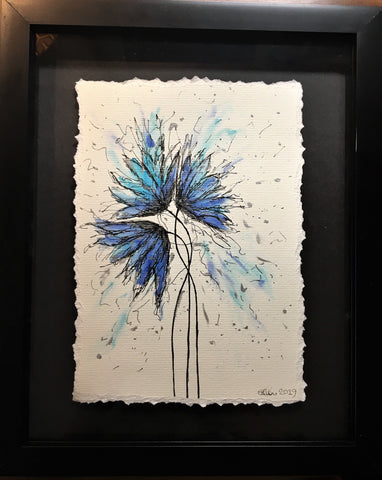 Abstract Blue/Turquoise/Silver Flowers - Framed Original Painting