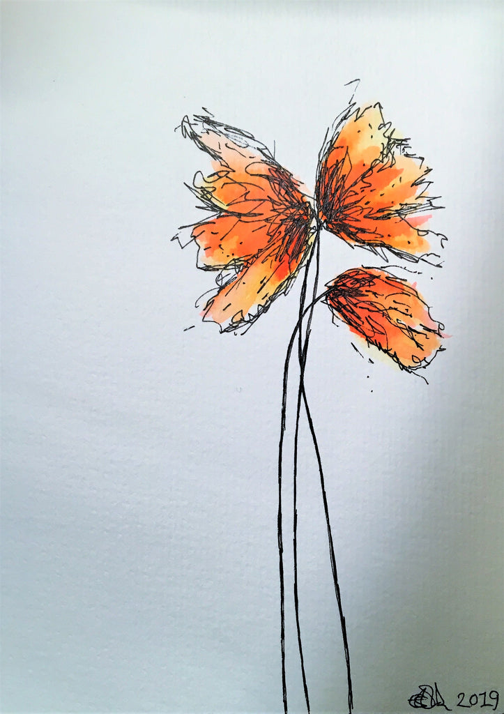 Handpainted Watercolour Greeting Card - Abstract Orange/Yellow/Red Poppies Design - eDgE dEsiGn London