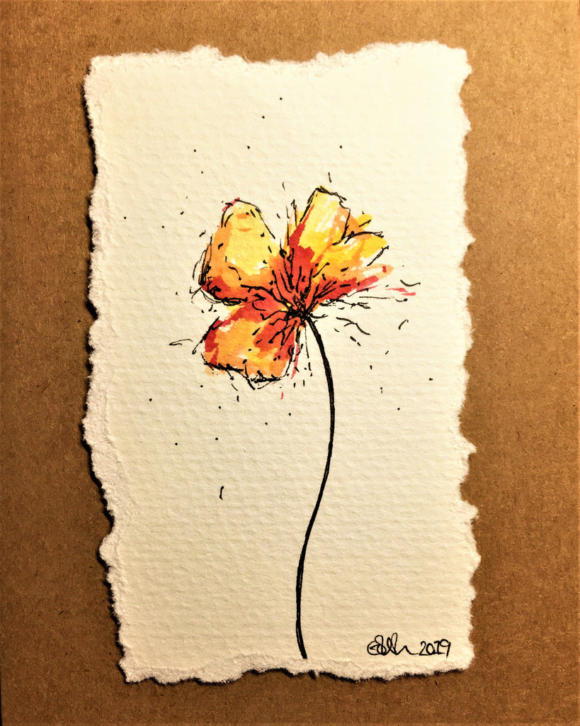 Hand-painted Greeting Card - Abstract Yellow/Orange/Red Poppy Design
