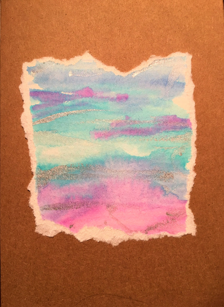 Handpainted Watercolour Greeting Card - Blended Stripes with silver on Pink/Blue/Purple - eDgE dEsiGn London