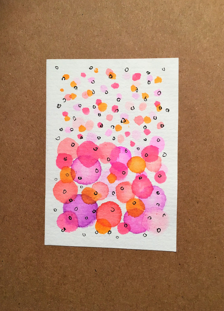 Handpainted Watercolour Greeting Card - Abstract Bubbles Pink/Purple/Orange with Ink Circle Design - eDgE dEsiGn London
