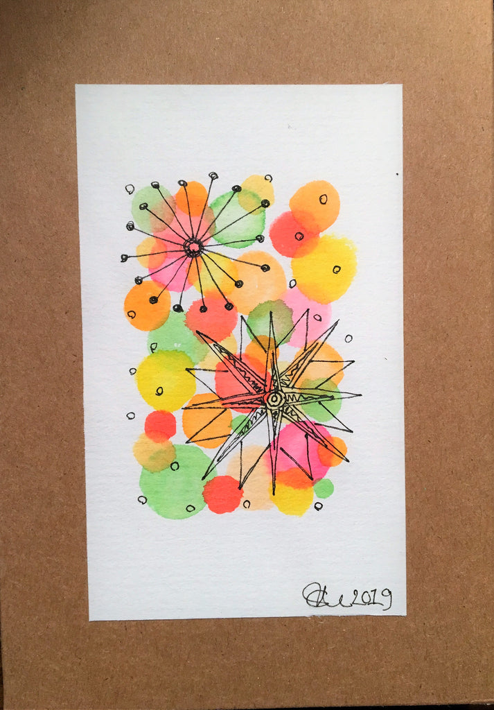 Handpainted Watercolour Greeting Card - Abstract Ink Star/Circle Design - Orange/Yellow/Green/Red - eDgE dEsiGn London