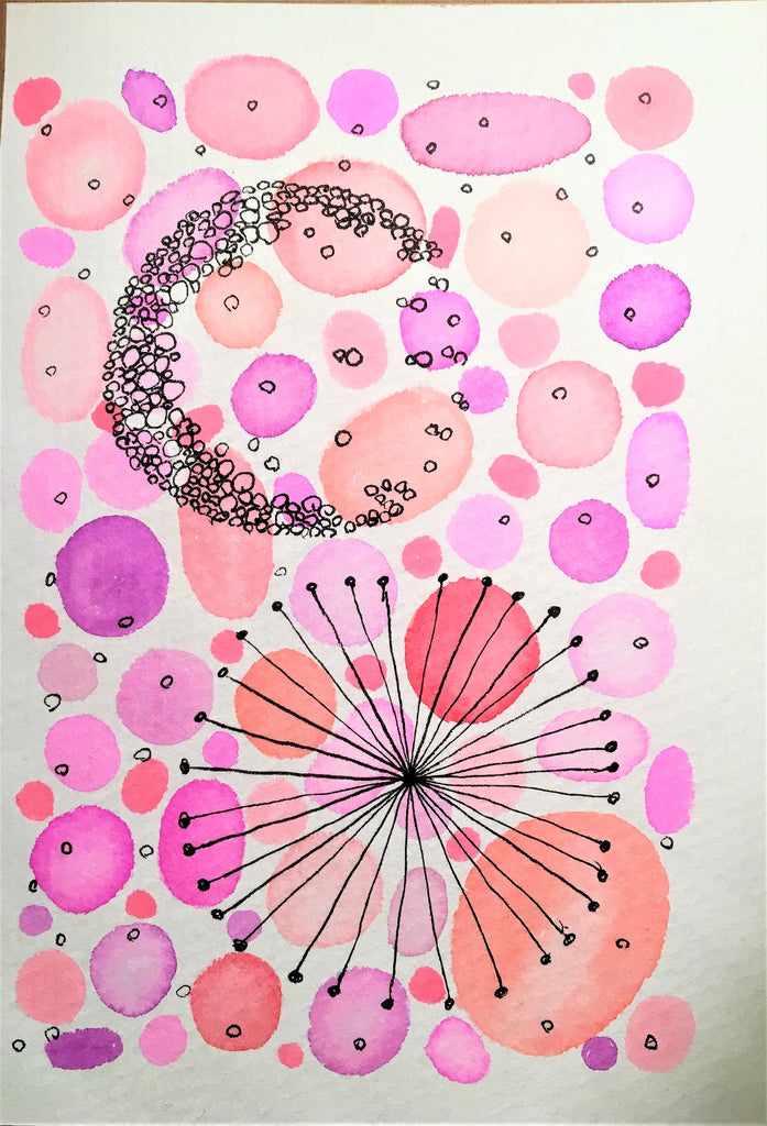 Handpainted Watercolour Greeting Card - Abstract Pink/Orange/Purple Circle with Ink Star and Bubble Design - eDgE dEsiGn London
