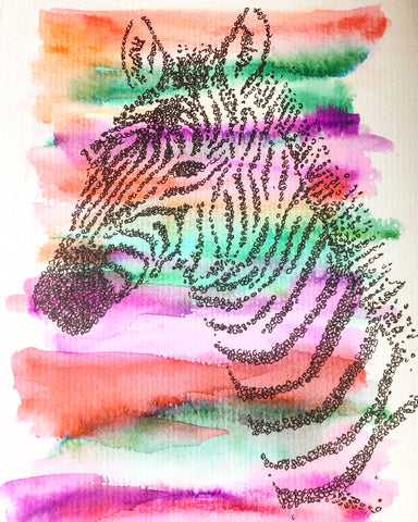 Handpainted Greeting Card/Original Artwork - Abstract Zebra
