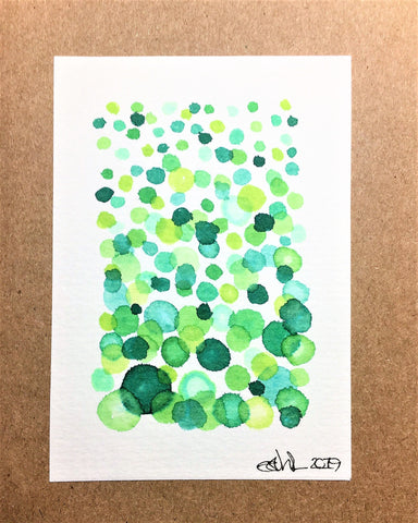 Hand-painted Greeting Card - Green Bubble Design
