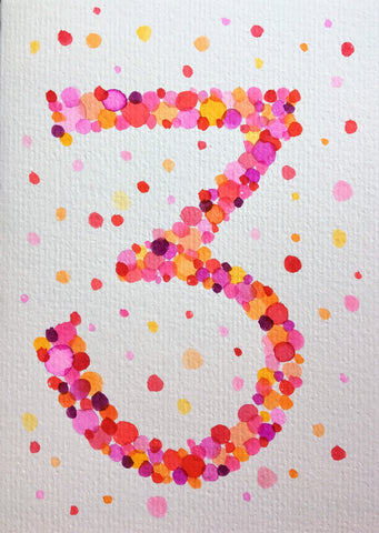Hand-painted greeting card - 3rd Birthday - Pink, red, orange and purple bubbles