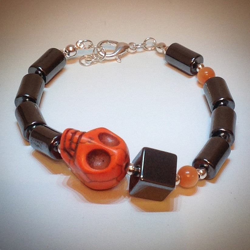 Beaded bracelet - Orange Howlite Skull, Hematite and Tigers Eye - eDgE dEsiGn London