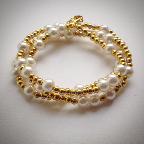 Beaded 'Lacelet' - necklace and bracelet - gold and pearl - eDgE dEsiGn London