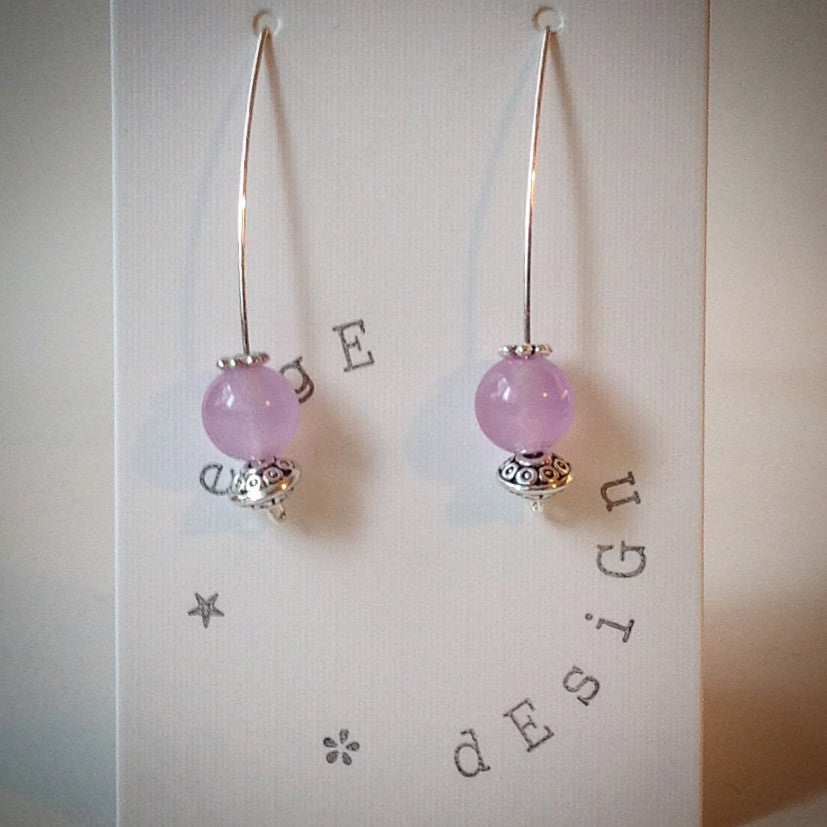 Silver Wire Drop Earrings - Lilac Malaysian Jade Bead and Antique Silver Beads