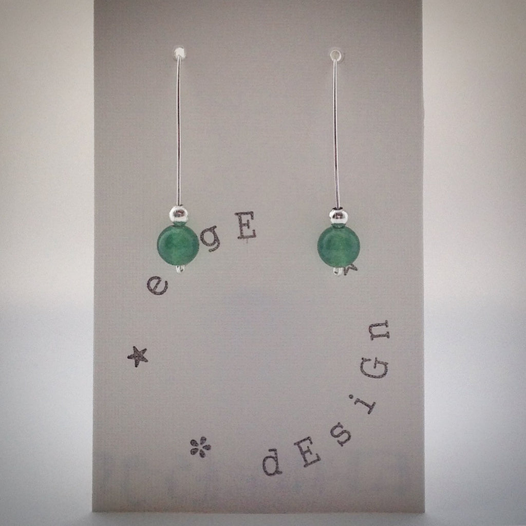 Silver Wire Drop Earrings - Malaysian Jade and Silver