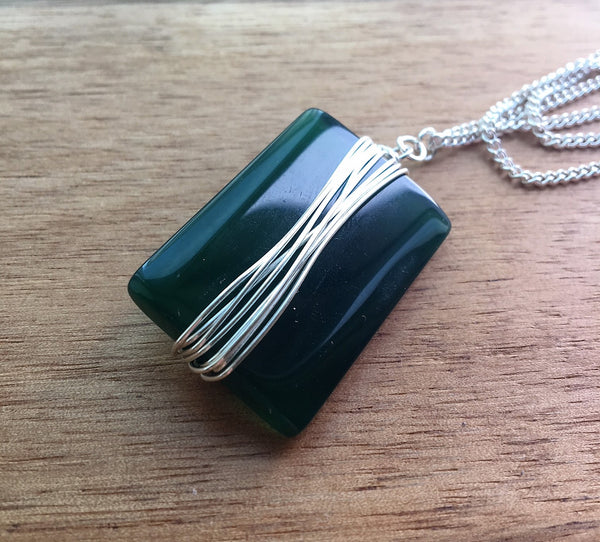 Jade Rectangular Wire Wrapped Pendant on Silver Necklace - eDgE dEsiGn London