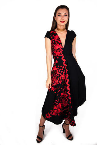 Dragon Maxi Dress With Embroidered Detail