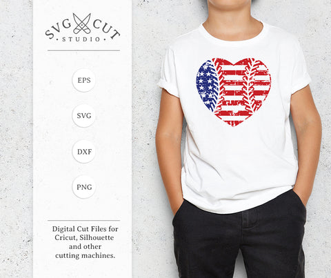 Distressed Baseball Heart SVG US Flag SVG at SVG Cut Studio