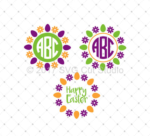 Easter Egg Monogram Frames SVG Cut Files at SVG Cut Studio