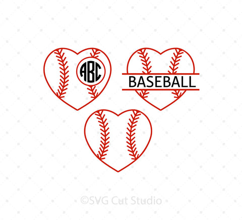Baseball Heart Ball SVG Cut Files at SVG Cut Studio