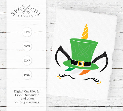 St Patricks Day Unicorn with Hat SVG Files