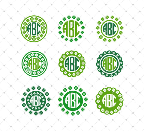 St. Patricks Day Monogram Frame SVG Cut Files #2 for Cricut Silhouette printable png dxf clipart and free svg files by SVG Cut Studio