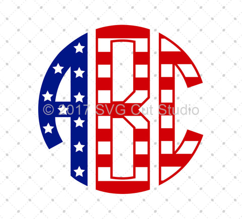 American Flag Circle Monogram Font SVG Cut Files at SVG Cut Studio
