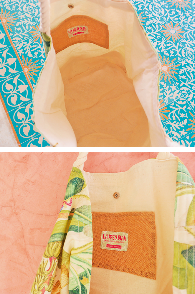 details of our oversized palm leaf beach bag