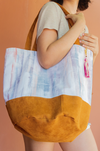 suede everyday bag with watercolor print canvas