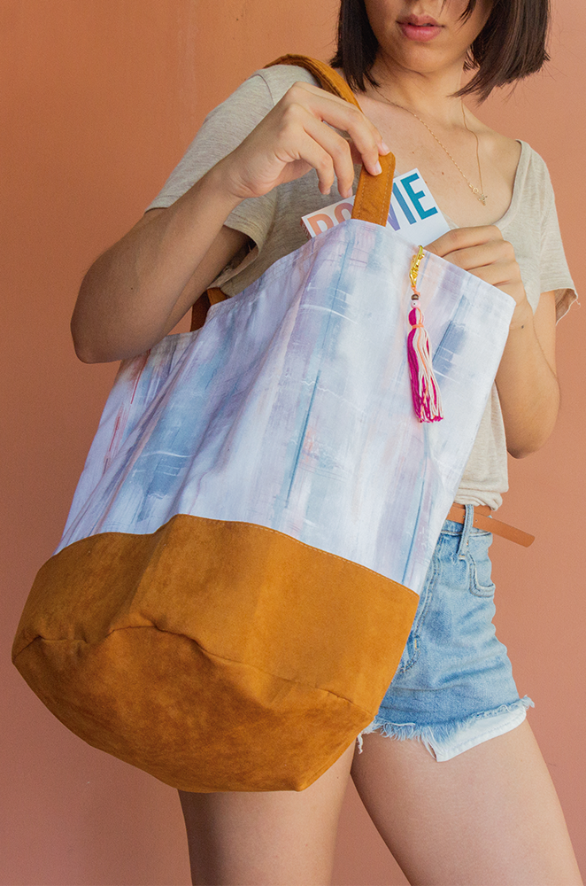 large vegan suede bag with pastel print fabric
