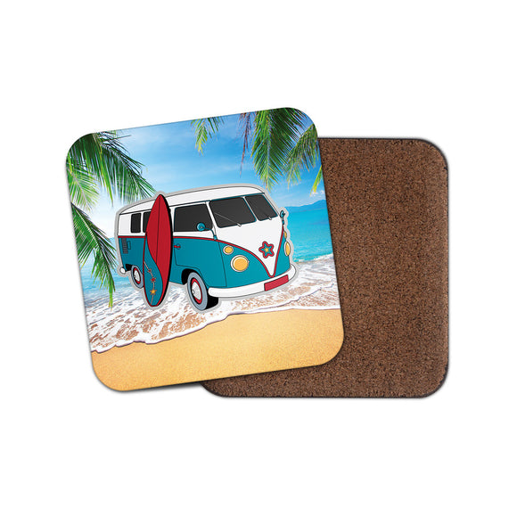 Campervan VW Surf Surfing Drinks Coaster Mat Square Cork Backed Tea Coffee #4017