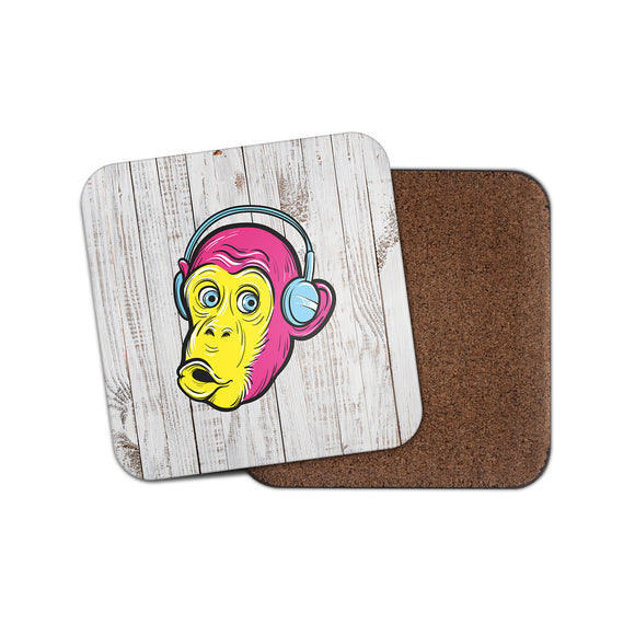 Monkey Headphones Cork Backed Drinks Coaster for Tea & Coffee #4133