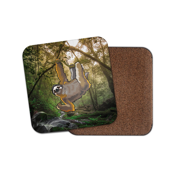 Lazy Sloth Cork Backed Drinks Coaster for Tea & Coffee #4134