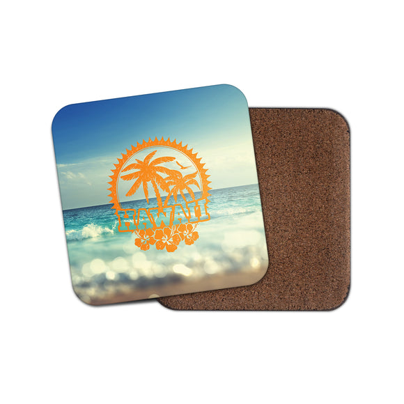 Hawaii Palm Trees Cork Backed Drinks Coaster for Tea & Coffee #4140