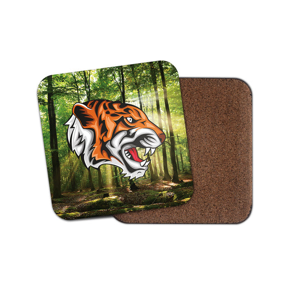 Tiger Cork Backed Drinks Coaster for Tea & Coffee #4143
