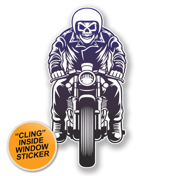 2 x Skull Biker WINDOW CLING STICKER Car Van Campervan Glass #6478