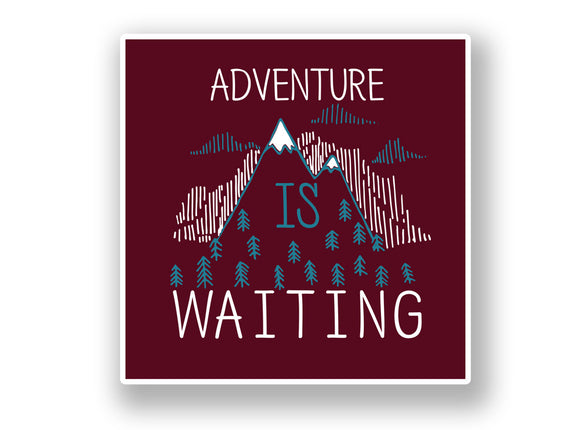 2 x Adventure Is Waiting Vinyl Sticker Mountian Ski Snowboarding #7051