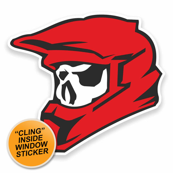 2 x Motocross Biker Skull WINDOW CLING STICKER Car Van Campervan Glass #9610