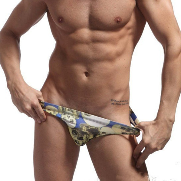 Sexy Men's Swimwear Briefs Skull Printed Swimsuit