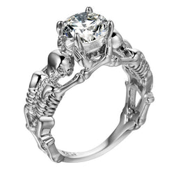 Exquisite Skull Skeleton CZ Ring