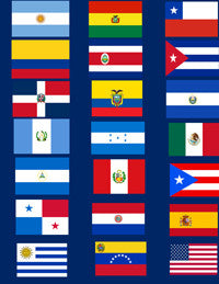 Hispanic American Magnet Flag Set - 21 Flag Magnets