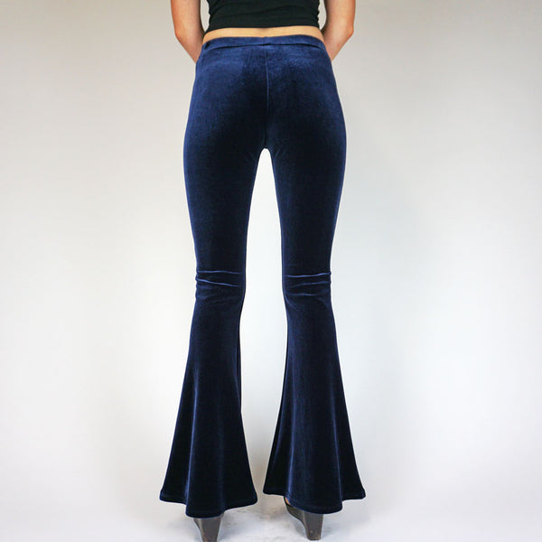 Blue Midnight Plain Velvet Flares